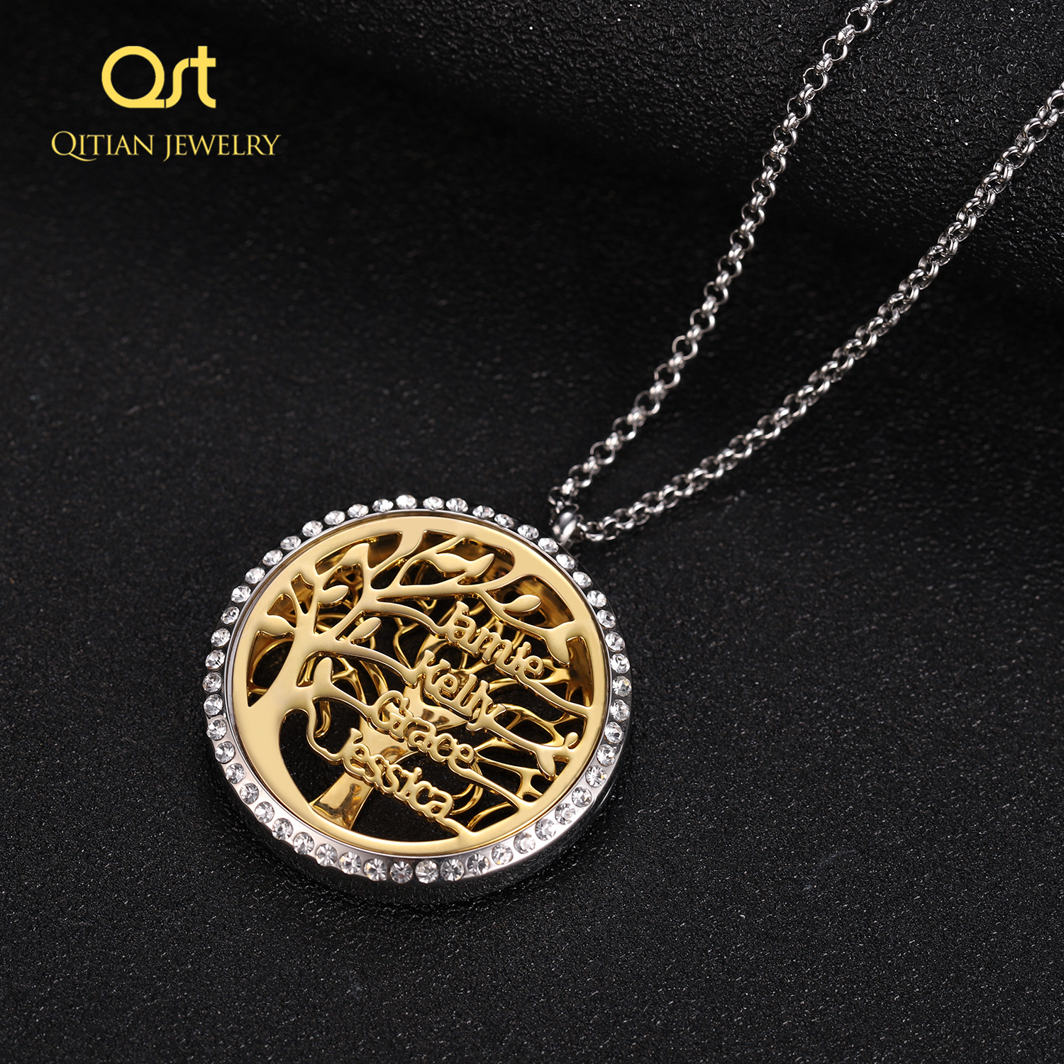 Personalized Statement Family Tree Necklace For Women custom Name Aromatherapy Stainless Steel Necklaces Men Jewelry bijoux Gift 1