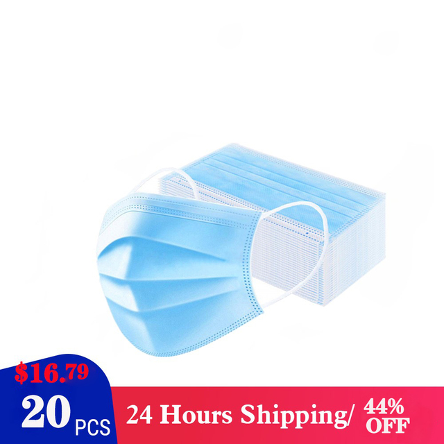 Disposable mask 3-Layer Non-woven IN STOCK CE Certification Disposable Soft Breathable Flu Hygiene Face Mouth Mask Fast Delivery 2