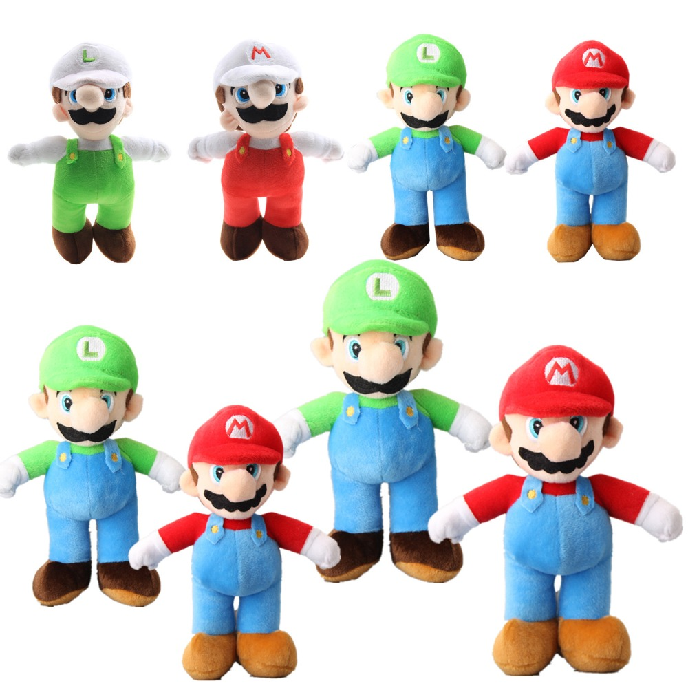 25 42cm Large Size Fire Mario Luigi Plush Toys Doll Japan Cartoon