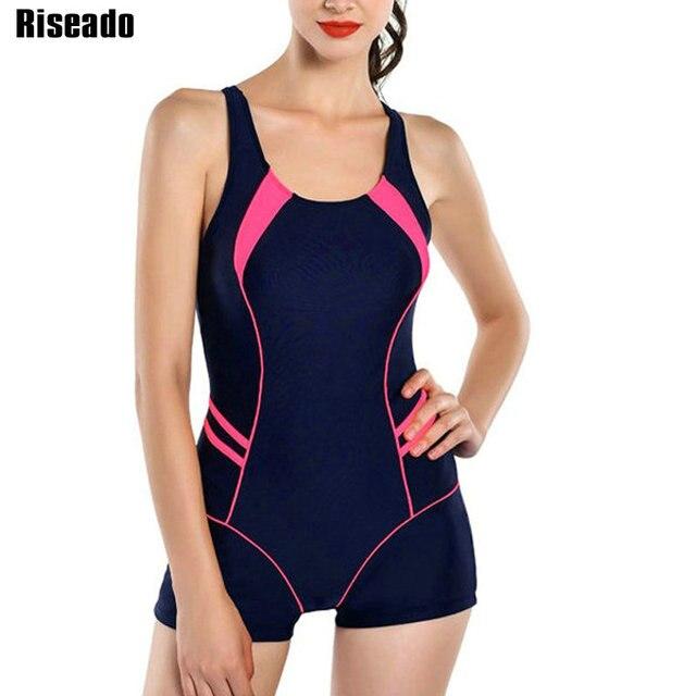 Riseado Neue Ein Stück Badeanzüge 2020 Patchwork Bademode Frauen Horts Racer Zurück Badeanzüge Schwimmen Anzug für Frauen