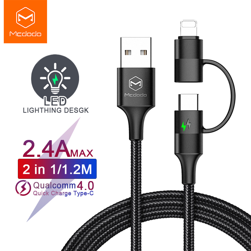 Mcdodo USB Type C Cable for Samsung Redmi Note 7 USB Cable <font><b>2</b></font> in 1 Fast Charging For iPhone X XR XS Max Phone Charger Data Cable image