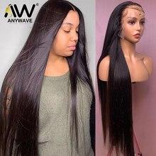Прямые бразильские волосы Реми 28, 30, 32 дюйма, 13x4, бесклеевые передние парики из человеческих волос на сетке для черных женщин, предварительно...