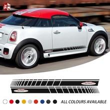 цены на 2 Pcs Car Door Side Stripes Sticker John Cooper Works Style Body Graphics Decal For MINI Coupe R58 JCW Cooper S Accessories  в интернет-магазинах