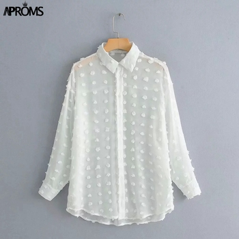 Aproms Vintage Polka Dot Tassel White Blouses Shirts Women 2020 Long Sleeve Beach Tunic Elegant Chiffon Shirt Casual Female Tops 4