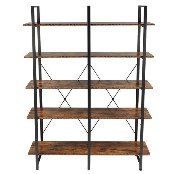 Double Wide Industrial 5-Tier Open Bookcase Shelves 3