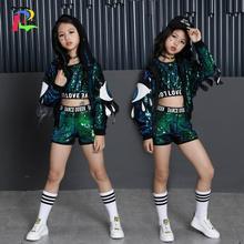 Girls Green Sequin Set Holidays Costumes Kids Jacket Crop Vest Top Shorts 3pcs Children Girls