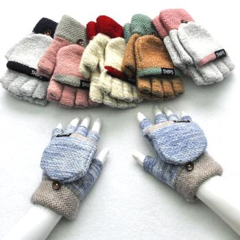 Warm Knitting Gloves High Imitation Cashmere Yarn Flip Half Finger Glove for adult Student Soft Knitted Cold-proof Mittens 2020 - discount item  25% OFF Gloves & Mittens
