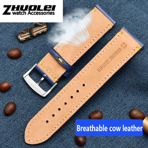 Image 3 - For Substitute Citizen AT8020 JY8078 wristband genuine leather strap 23mm blue Watch Band with folding buckle bracelet
