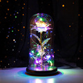 Beauty and Beast Romantic Eternal Light Rose Flower Glass Cover LED Battery Lamp Birthday Valentine's Day Mother Gift Decoration