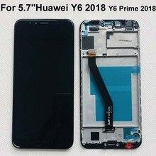 Оригинальный 5,7 дюйма для Huawei Y6 2018 Y6 Prime 2018, ЖК дисплей с дигитайзером сенсорного экрана и рамкой для Huawei Y6 2018/Y6 Prime 2018, с ЖК дисплеем, с диагональю 1/2/1/2 дюйма, в сборе