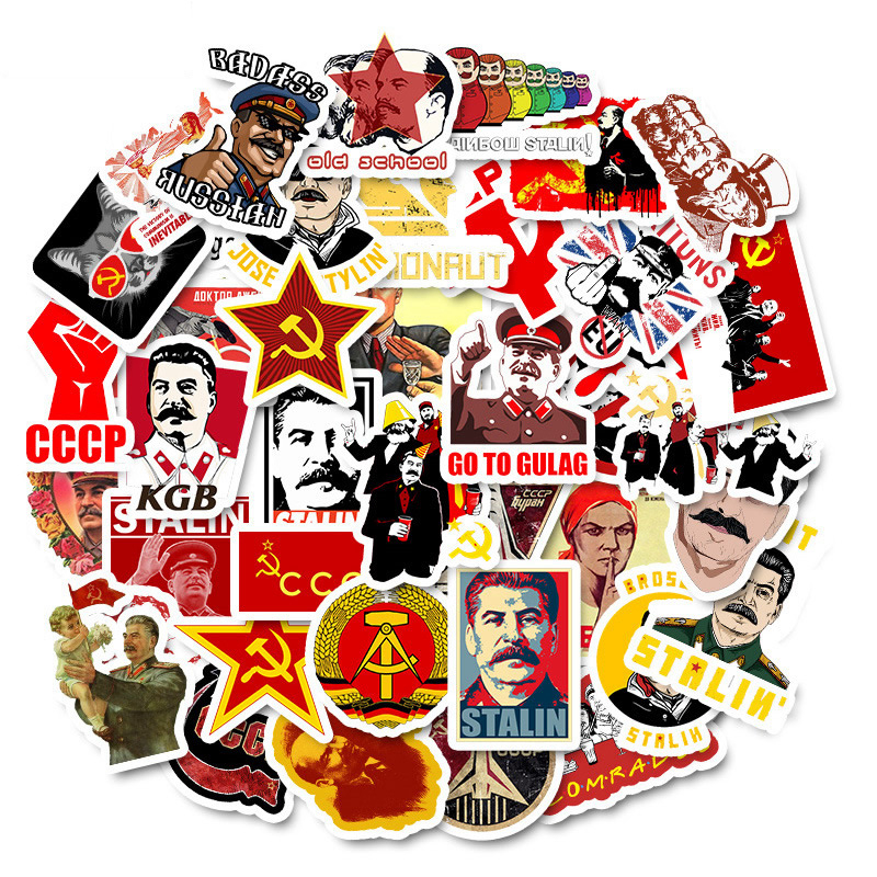 50 PCS Mixed Soviet Union Stalin USSR CCCP HET Stickers Waterproof PVC Skateboard Guitar Phone Luggage Laptop Motorcycle Sticker