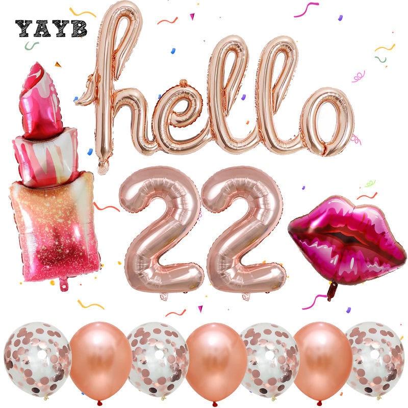 12 шт. губная помада Фольга шары набор из розового золота Hello 20 расстегиваемый ремешок шириной 22 или 26 30 номер шары для свадьбы и дня рождения ...