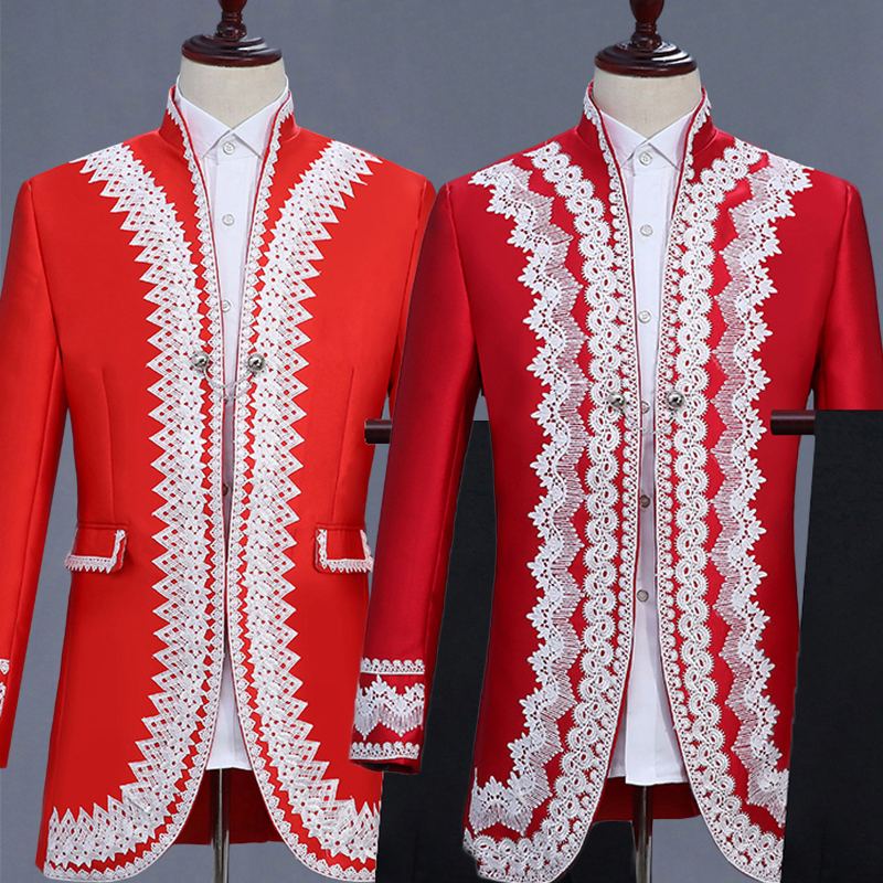 Red Men's Suits Male Wedding Jacket Prom Party Performance Costumes Bar Show Nightclub Stage Outfit England Court Dress DT1482