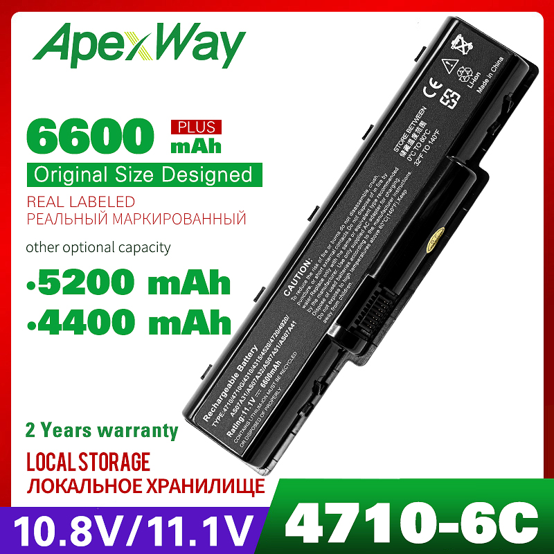 Laptop Battery For Acer Aspire AS5740 AS07A51 AS07A75 2930 4310 4520 4530 4710 4720 5738 5738G 5738Z 5738ZG 4730 4920 5740 image