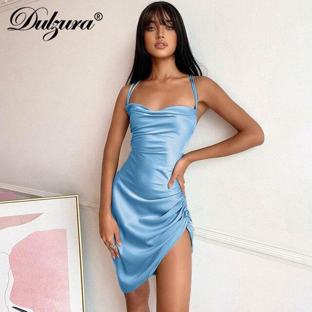 Dulzura Satin Women Strap Mini Dress Ruched Lace Up Cross Bandage Backless Bodycon Sexy Party Elegant 2020 Club Christmas Slim 5