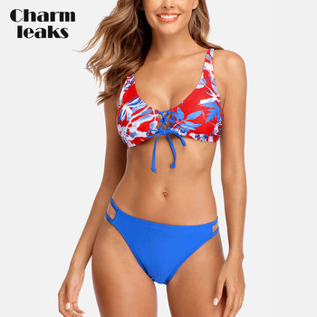 Charmleaks Women Bikini Set Striped Bikini Tied Front Bandages Swimwear Cutout Sexy Push Up Swimsuit