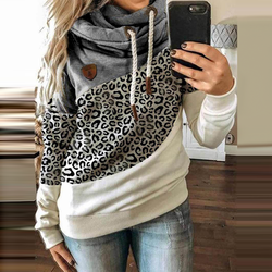 Women Patchwork Hooded Sweatshirt Autumn Winter Leopard Print Harajuku Drawstring Hoodie Casual Long Sleeve Pullover Tops Female