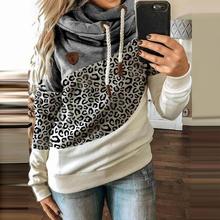Mulheres retalhos com capuz moletom outono inverno leopardo impressão harajuku cordão hoodie casual manga comprida pulôver topos feminino