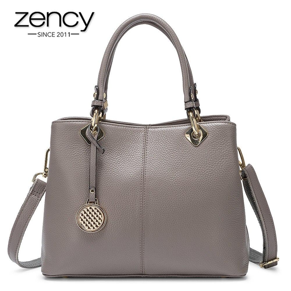 Zency Large Capacity Women Tote Handbag 100% Genuine Leather Elegant Lady Shoulder Crossbody Bags High Quality Black Grey