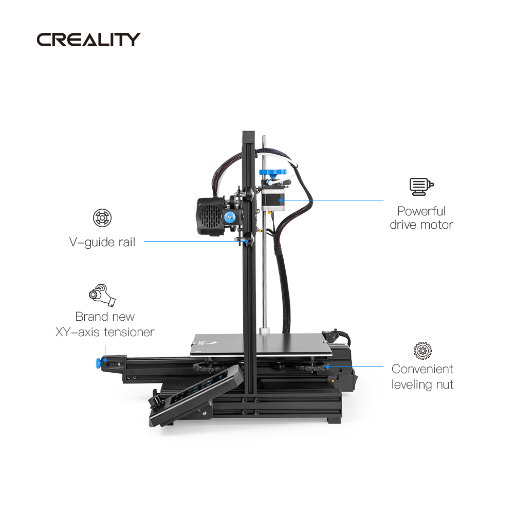cheapest CREALITY 3D New Ender-3 V2 Mainboard With Silent TMC2208 Stepper Drivers 4 3 Inch Touch Lcd Carborundum Glass Bed Printer