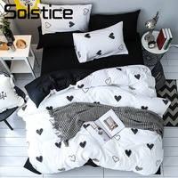 Solstice Home Textile Girls Kid Teen Brief Bedding Set Adult Female Inen Soft Black White Heart Duvet Cover Pillowcase Bed Sheet