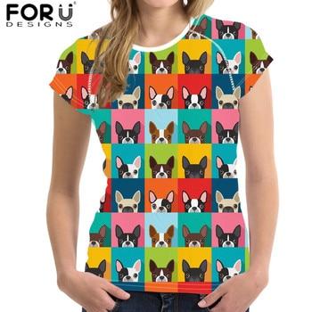 FORUDESIGNS Drop Shipping Women T Shirt Puppy Yorkshire Bull Boston Terrier Dog Print Short Tops Fashion Lady camiseta mujer