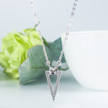 Minimal Dainty Triangle Shaped Geometric Necklace 925 Sterling Silver CZ Stone Pendant Jewelry For Women S-N427(China)