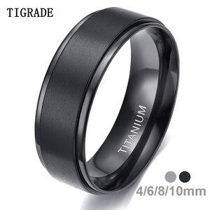 Tigrade 4/6/8/10mm Black Titanium Ring Man Brushed Wedding Band Women Engagement Rings Silver Color Bague Femme anneau bijoux