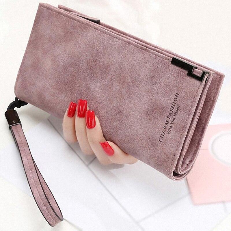 1Pcs Women Wallet PU Leather Zipper Clutch Wallet Wristlet Wrist Strap