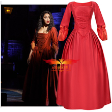 Anime Musical Rock Opera Hamilton Stage Gown Concert Maria Reynolds Cosplay Costume Outfits Women Red Dress for Party Halloween