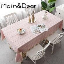 Tecido listrado algodão e linho pequeno fresco mesa de café cobrir pano jantar retangular smple moderno toalha de mesa rendas borla
