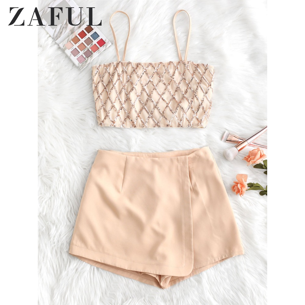 ZAFUL Geometric Sequined Cami Top And Wrap Culotte Set Zipper Fly A Line High Waist Mini Culottes Cami Tops Women Two Piece Suit