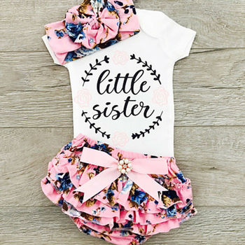 цена CANIS Newborn Baby Girls Outfits Clothes Short Sleeve Letter Printed Jumpsuit Bodysuit+Pants+Headband Set онлайн в 2017 году
