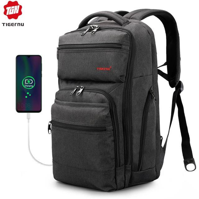 Tigernu Brand 15.6inch USB charging Men Backpack Women Anti theft Laptop Backpack Splashproof Large School Bag Male Mochila