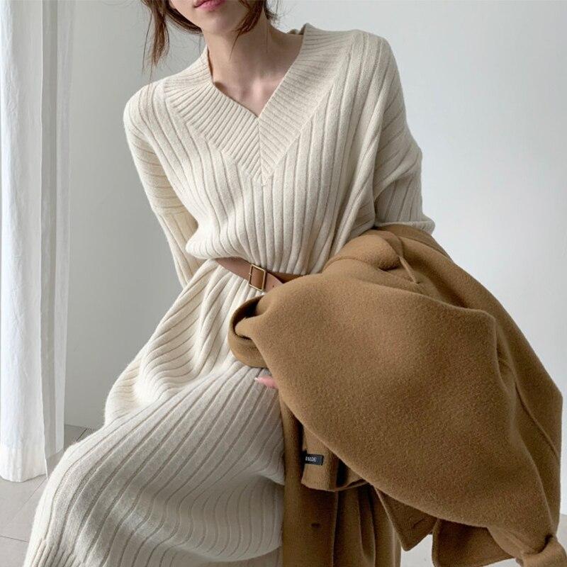 Novo padrão feminino outono inverno sexy decote em v manga comprida vestido de camisola de malha manga comprida em linha reta aconchegante pulôver vestidos finos