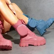 Botas femininas bolso rendas até senhoras motocicletas botas de combate feminino pista fivela cinta zíper tornozelo bota mulher sapatos plataforma