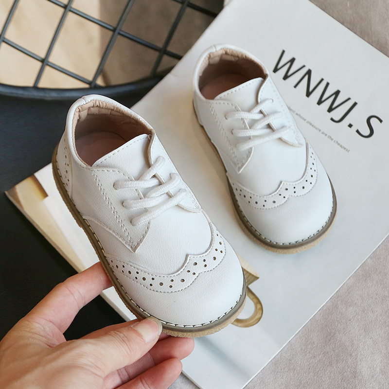 Spring Autumn Fashion Children Flats British Style Genuine Leather Kids Shoes Baby Boys Girls Leather Shoes Chaussure Enfant A33