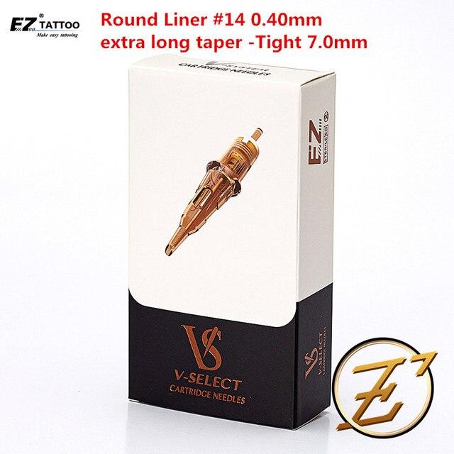 EZ v select cartucho para tatuar agujas #14, delineador redondo de 0,40mm, Microblading, cono extra largo, apretado de 7,0mm para máquina de tatuaje rotativa