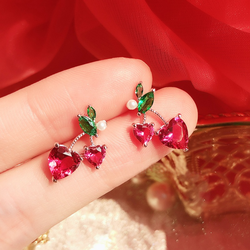 Fashion Cute Eart Cherry Crystal Stud Earrings For Women Students Elegant Pearl Holiday Pendientes Mujer Moda Jewelry