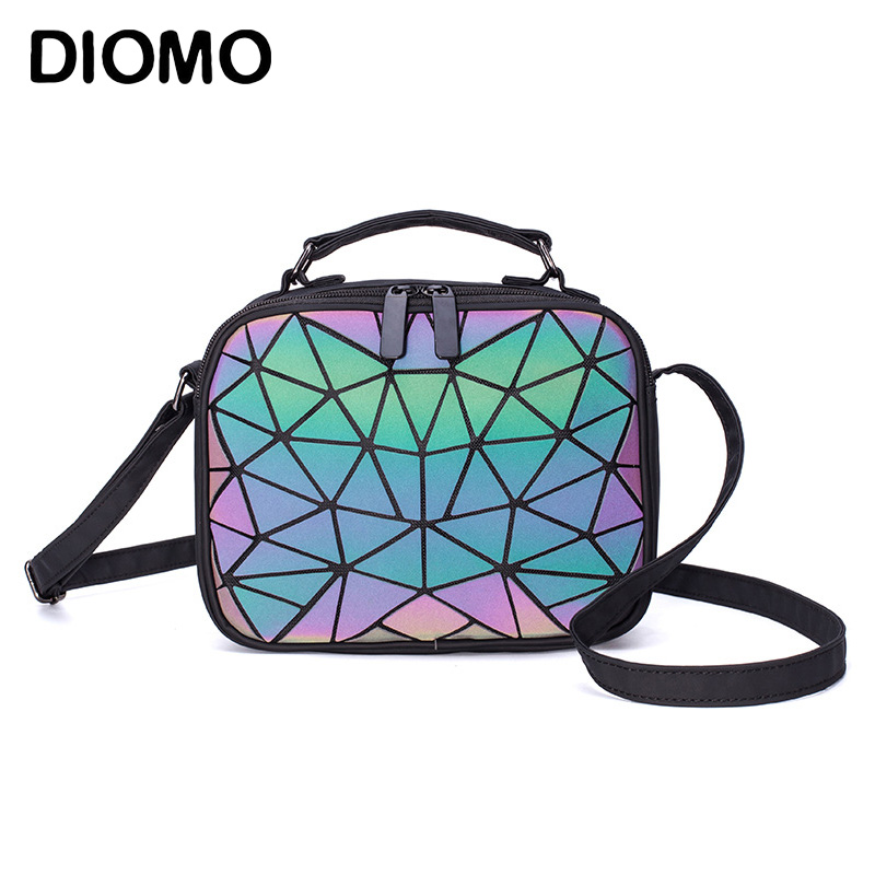 DIOMO 2019 Ladies Small Shoulder Bag Geometric Handbag Crossbody Bags For Women Luminous Square Student Teenage Girl Laser Bag