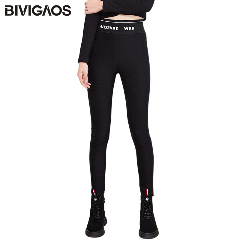 BIVIGAOS 2019 Women Autumn New High Waist Letters Black Leggings Skinny Slim Elastic Pencil Pants Sport Sexy Legging Magic Pants 1