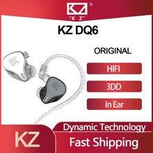 Originele Kz DQ6 3DD Dynamic Drive Unit In Ear Oordopjes Hifi Muziek Sport Headset Met 2PIN Verzilverd Cable kz Edx Zsn Pro