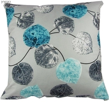 YYDD наволочка для подушки квадратная 20x20 дюймов хлопок синий серый лист домашняя Подушка для украшения дивана Чехлы