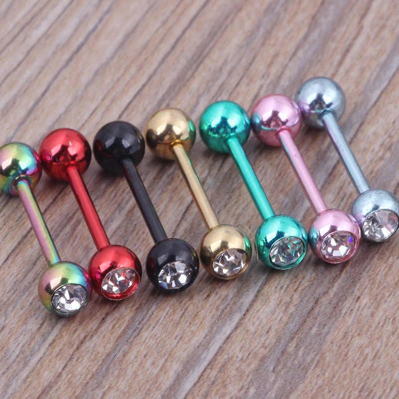1 pieza bola Barbell lengua anillo 16mm Piercing lengua pezón anillo Sexy colorido Helix Piercing Acero inoxidable cuerpo joyería
