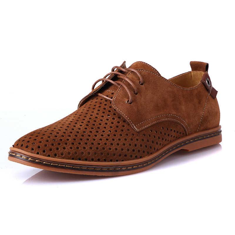 Oddychające krowy skórzane buty męskie Plus rozmiar 38-48 niebieski/szary/wielbłąd/zielony/kawa/czarny mężczyźni trampki 2020 letni mężczyzna obuwie