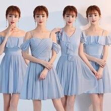 חדש הגעה Muyoms סטרפלס מעל הברך מיני אונליין קיץ נשים כחול ורוד שיפון פשוט קוקטייל שמלת קוקטייל שמלת המפלגה