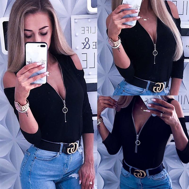hirigin new fashion Women Open Shoulder Top Zipper t-shirts Ladies Plunging Neckline tops ladies Daily Sexy short sleeve tees