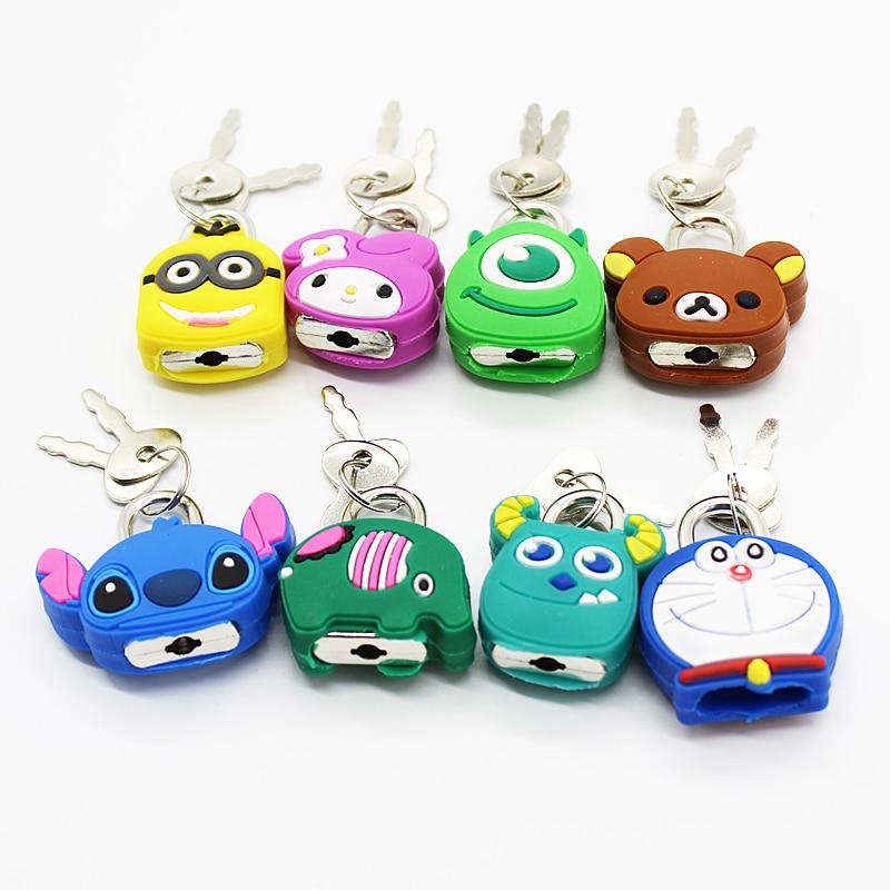Mini Cartoon Padlocks Lovely Luggage Lock Backpack Zip Padlocks Make-up Box Key Lock Students Diary Lock Children's Small Toys