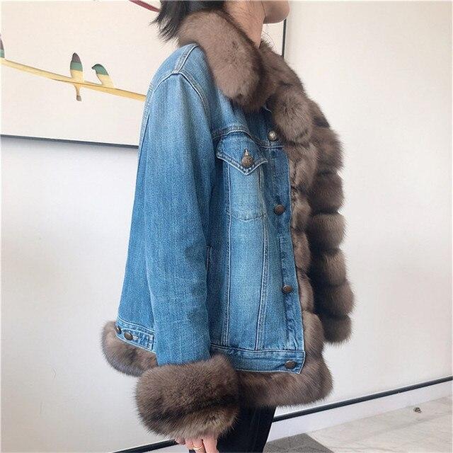 Véritable fourrure parka manteau hiver luxe vison fourrure col 90% blanc canard vers le bas doublure denim manteau veste