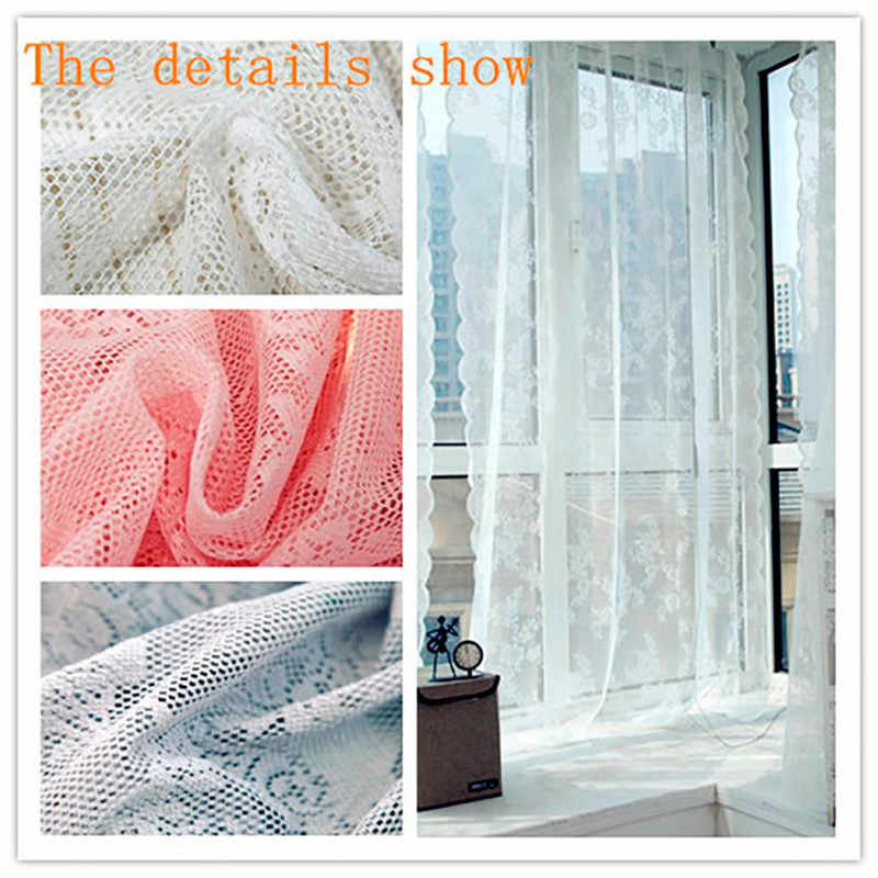 145*180CM Lace Window Curtain Tulle Perspective Voile Hanging Bay Windows Drape Cafe Door Decor Pendant Blinds Sheet #B30